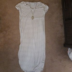Comfy gray and white striped dress!